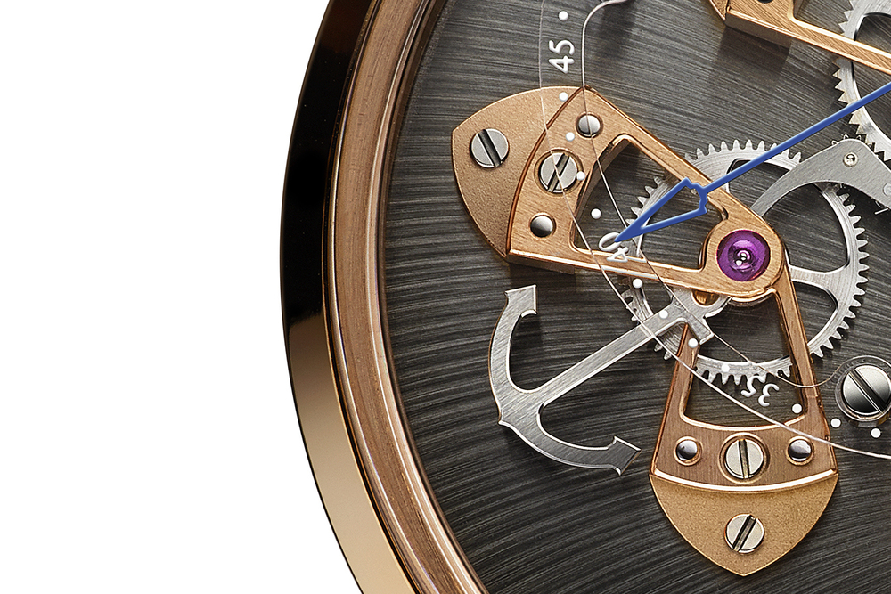 An anchor-shaped lever pays homage to Arnold & Son's historical association with the maritime industry.