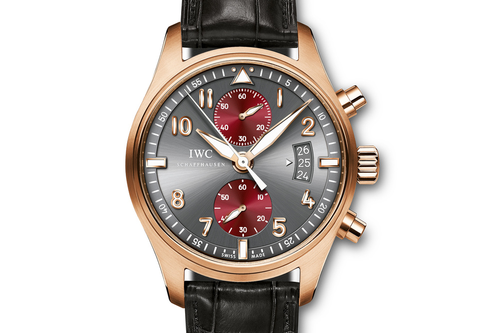 "The slate grey dial and deep red subdials reference New York's ""steely"" qualities and Hollywood red carpets."