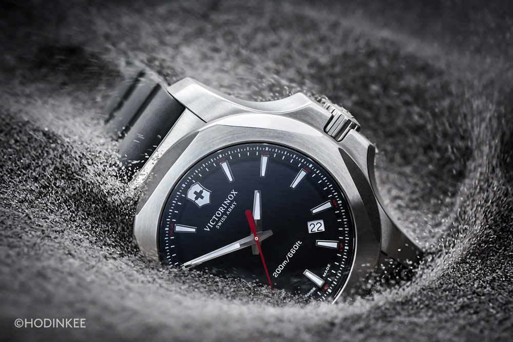 The Victorinox INOX can withstand impacts, sandstorms, and extreme temperature changes.