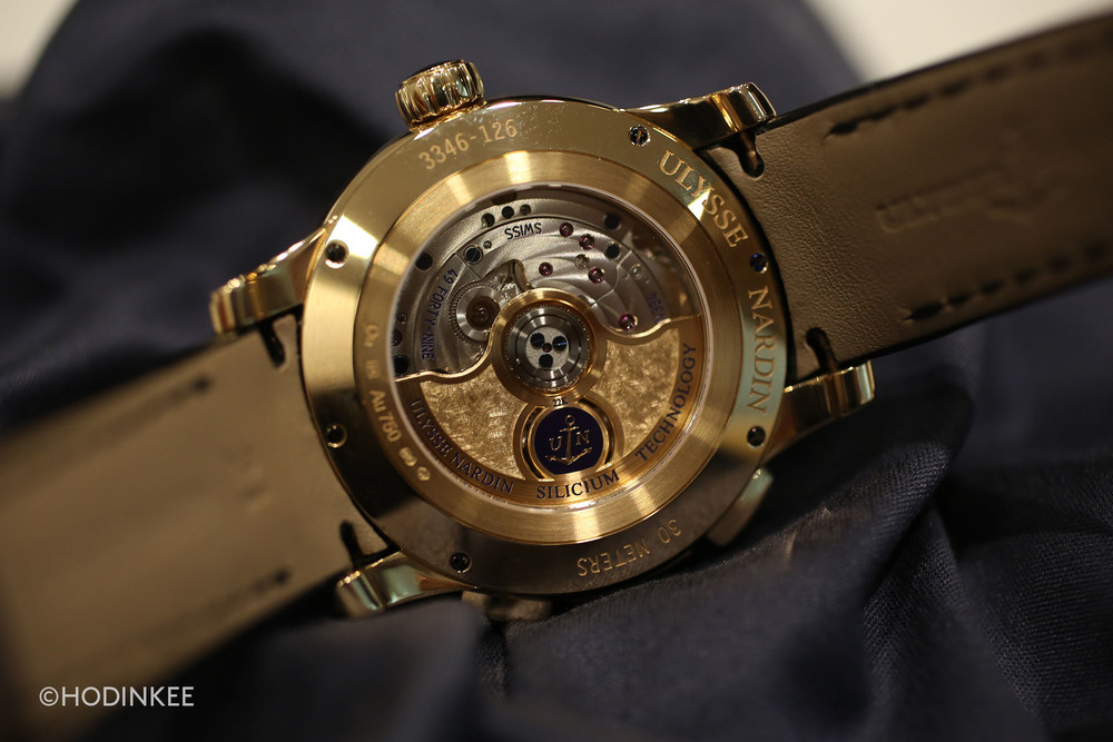 Self-winding Calibre UN-334 can be seen at work through the sapphire crystal case back.
