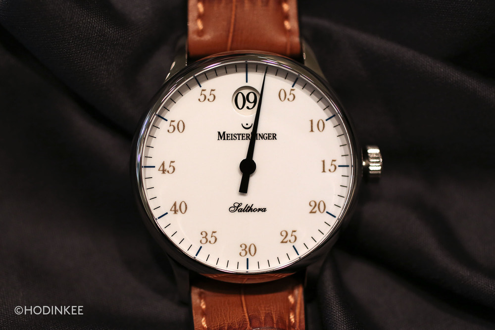 The Salthora is the first watch from MeisterSinger to include a jumping hour display.