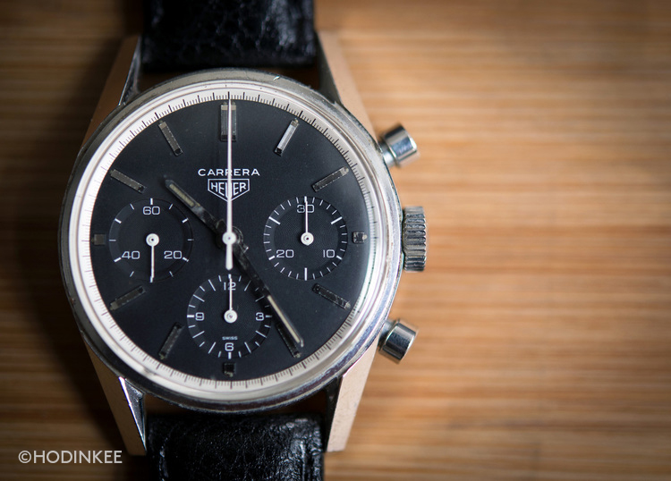The first Carrera included a chronograph function with tri-compax dial configuration.