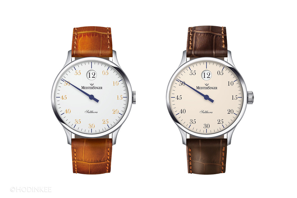 The Salthora, with white dial on the left and ivory dial on the right.