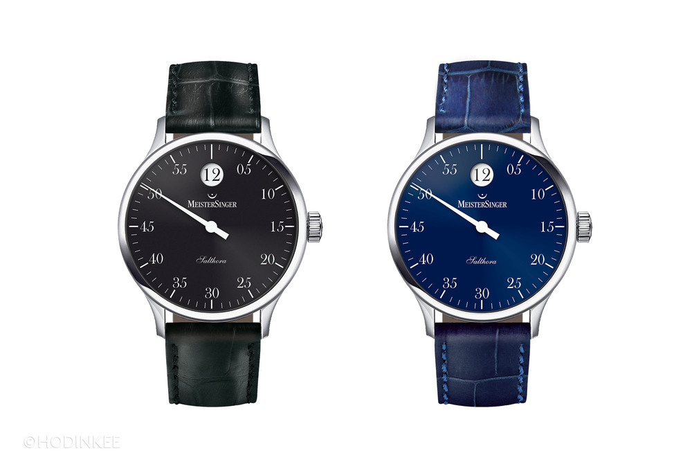 Versions with black or blue dials offer greater contrast with the white jumping hour display.