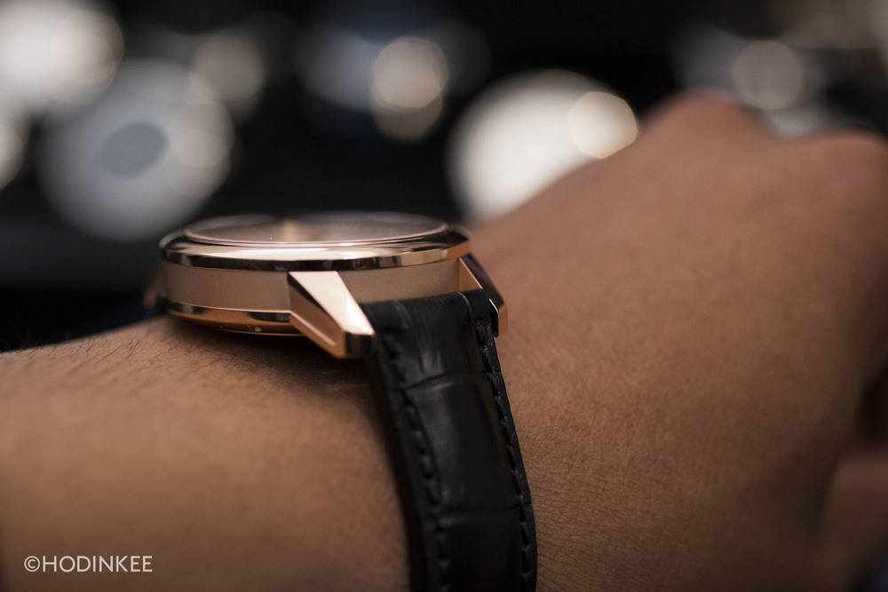 The new FAIRMINED rose gold case looks modern in a mix of polished and matte finishes.