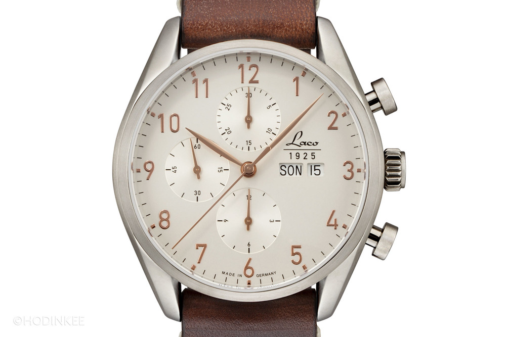 """The Laco """"New York"""" Chronograph features a stainless steel case and rose gold-colored details on the dial."""