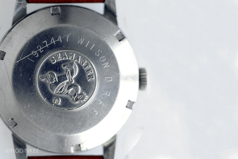 This solid case back features the Omega hippocampus. The R.A.F. engraving was most likely done post-service as this model was not R.A.F. issued.