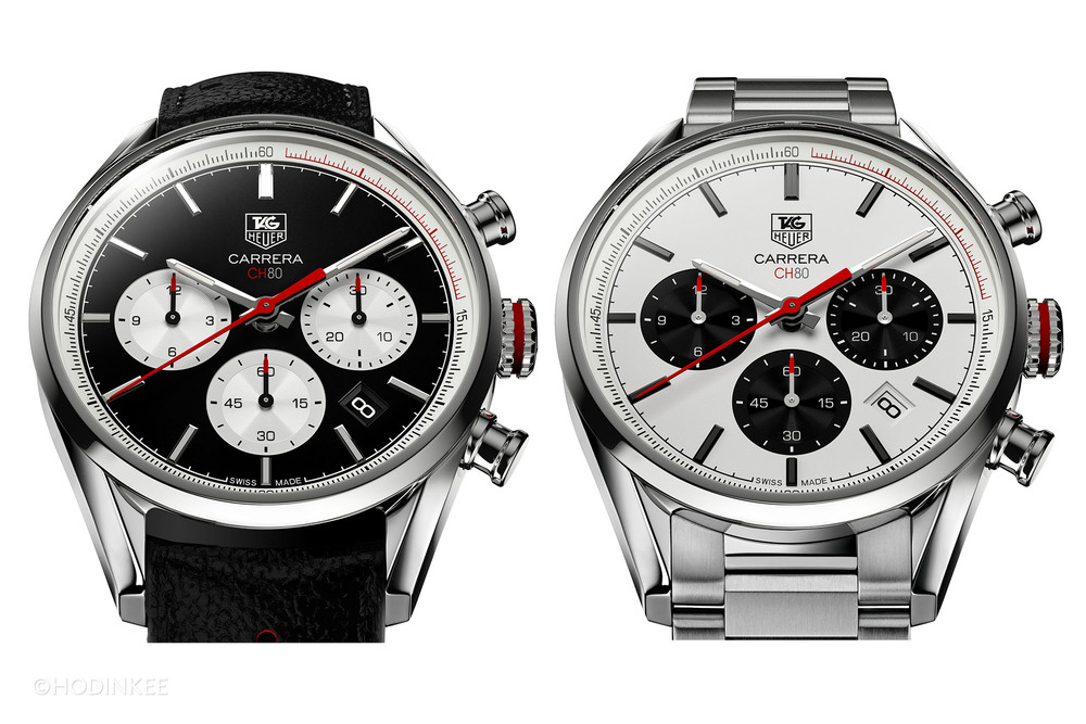 Two dial options are available: black with white sub-registers or white with black.