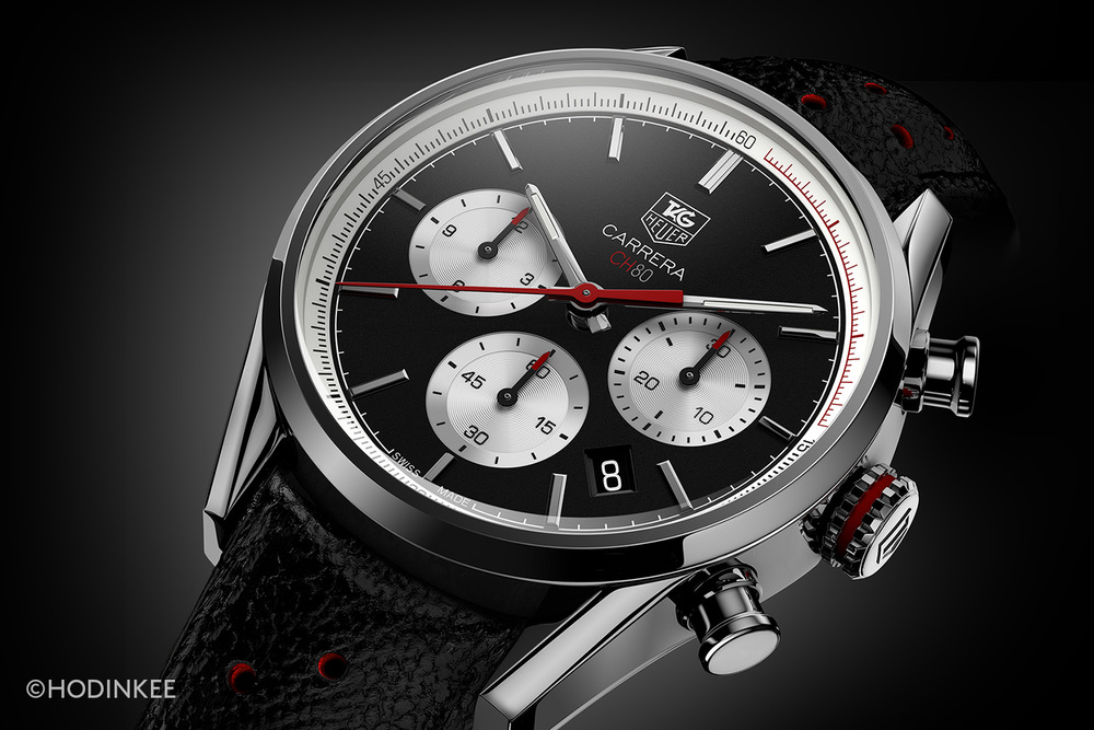 The chronograph pushers feel precise and move with fluidity.
