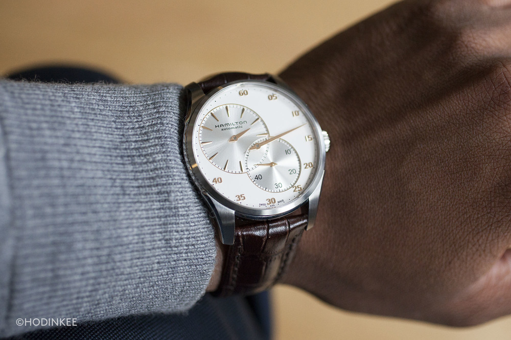 At 42mm, the simple stainless steel case sits well on the wrist.