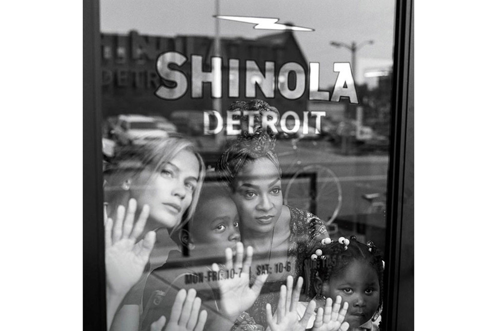 Bruce Weber Campaign with Detroit residents and model Carolyn Murphy, left.