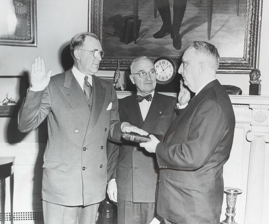 President Harry S Truman And Members Of Cabinet Sworn In With A Chelsea Clock In The Background
