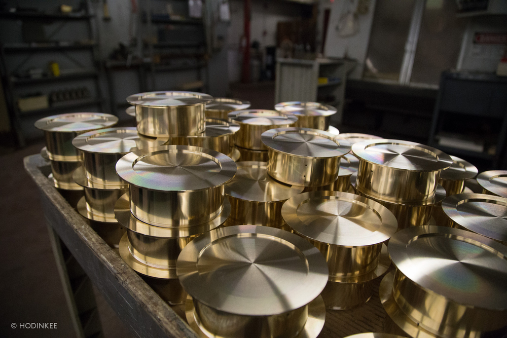 Italian brass cases, mid-manufacture
