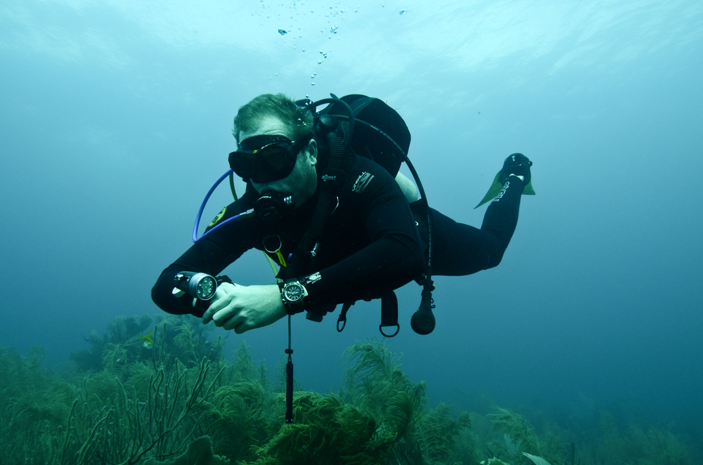 The author dives with a Jaeger-LeCoultre Master Compressor Diving Pro Geographic Navy SEALs (photo by Gishani)