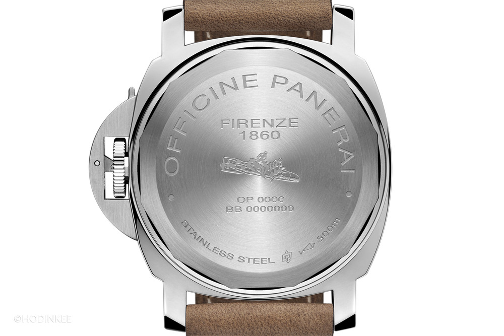 Not too much is hidden by the solid case back–Calibre P.5000 is designed with most details behind large plates.
