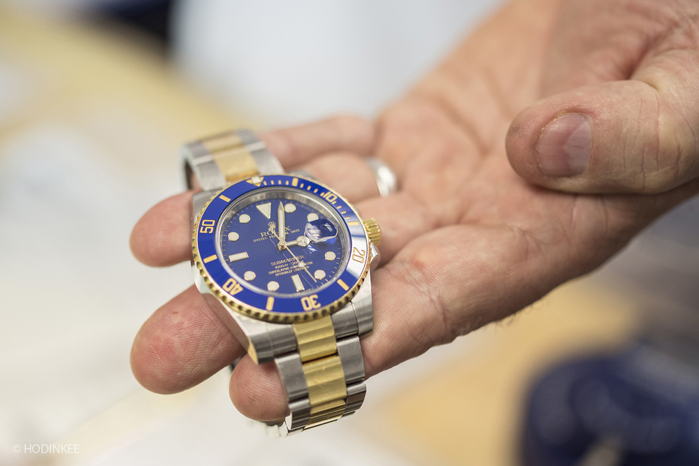 A Rolex Submariner arrives for servicing.