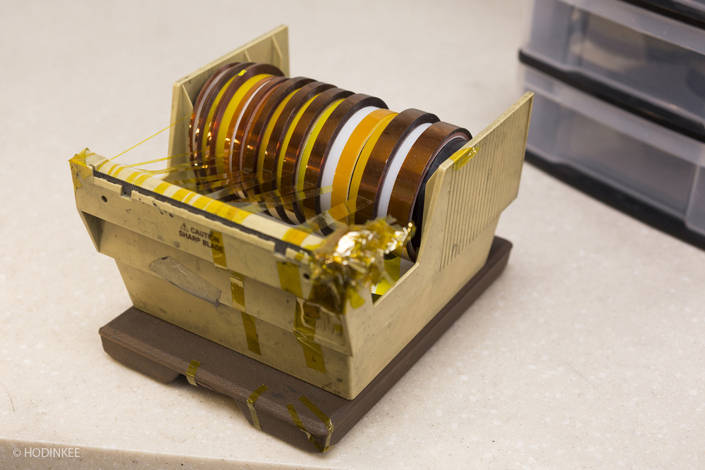 Tape used to mask areas of a watch during the polishing process.