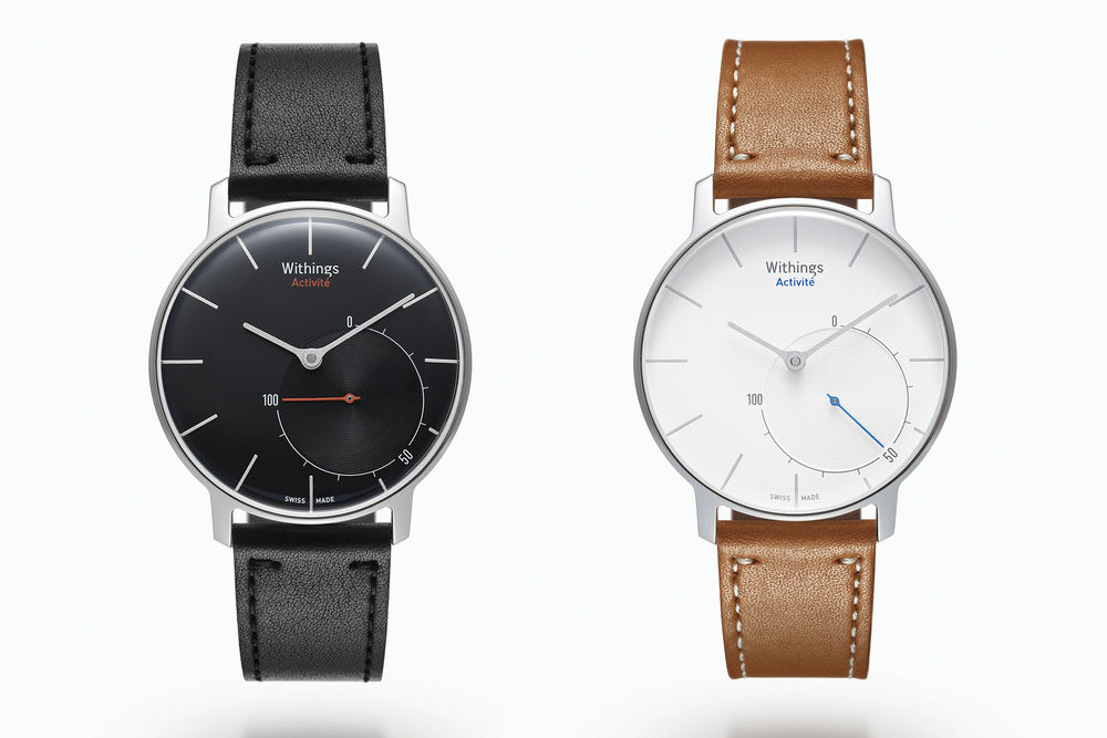 Two versions are available, a black dial with red-hued accents, and a white dial with blue.