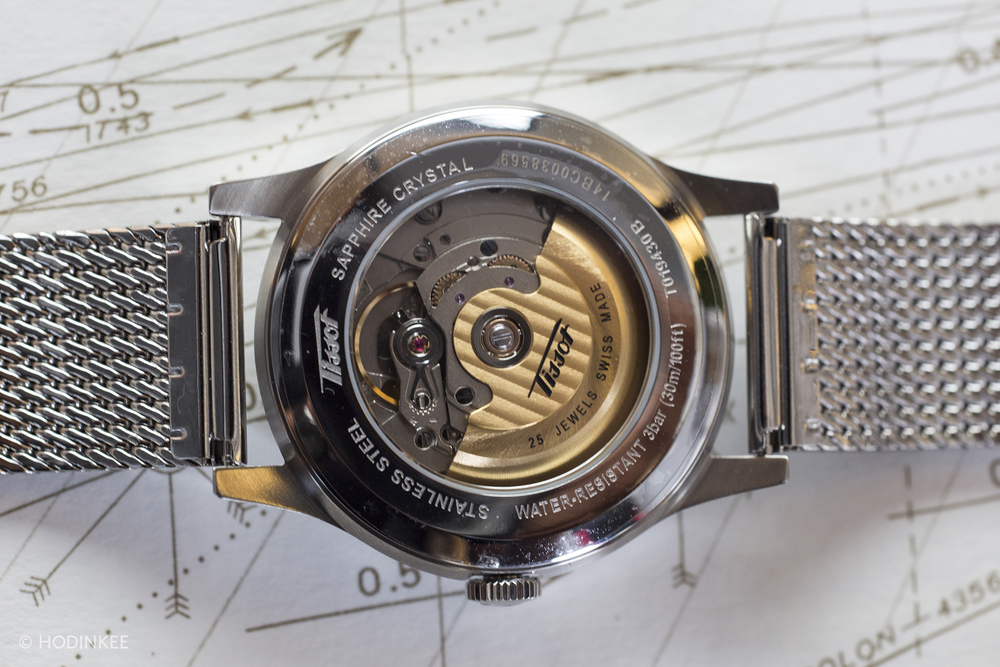 The self-winding ETA 2836-2 is visible through sapphire crystal case back.
