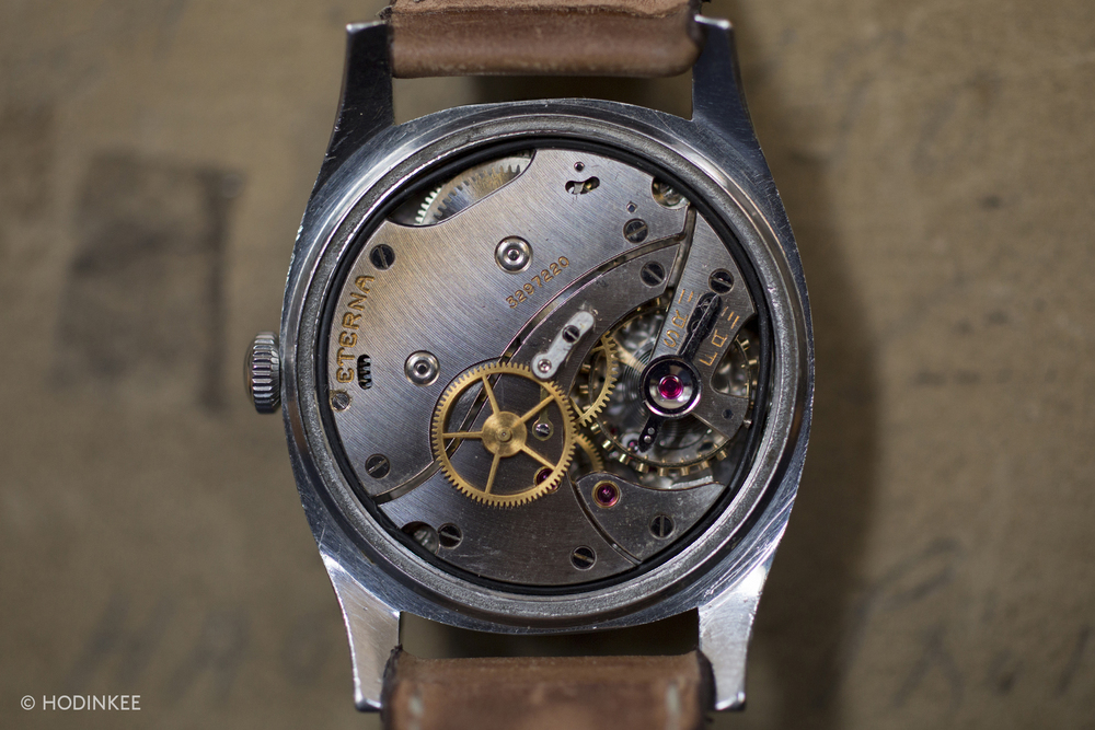 Manually-wound Calibre 852S from Eterna has 50-hours of power reserve.