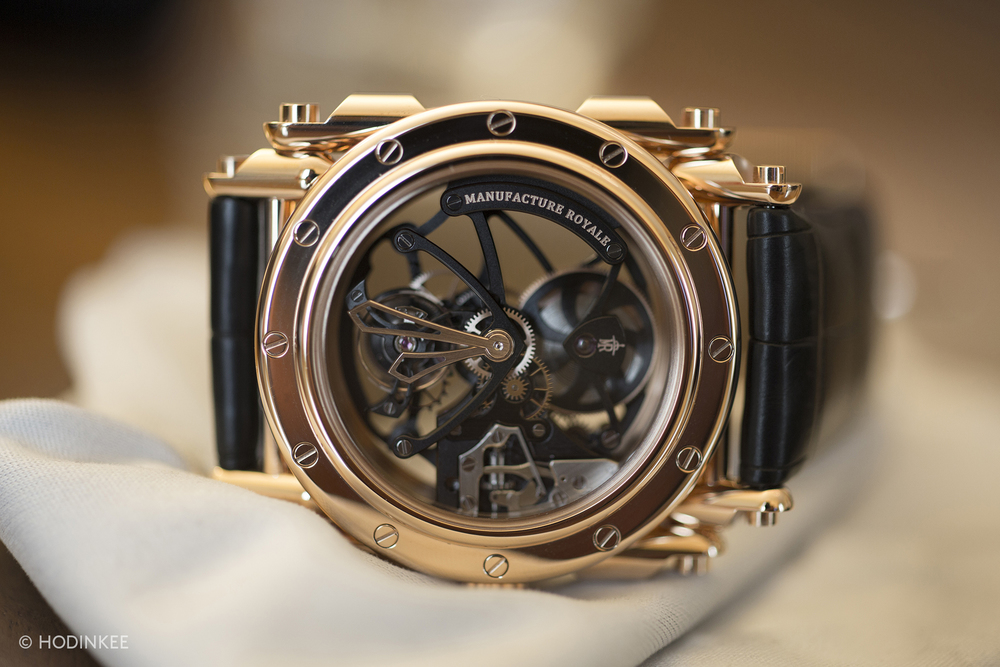 This limited edition model features a fully skeletonized-movement, caliber MR06, with flying tourbillon.
