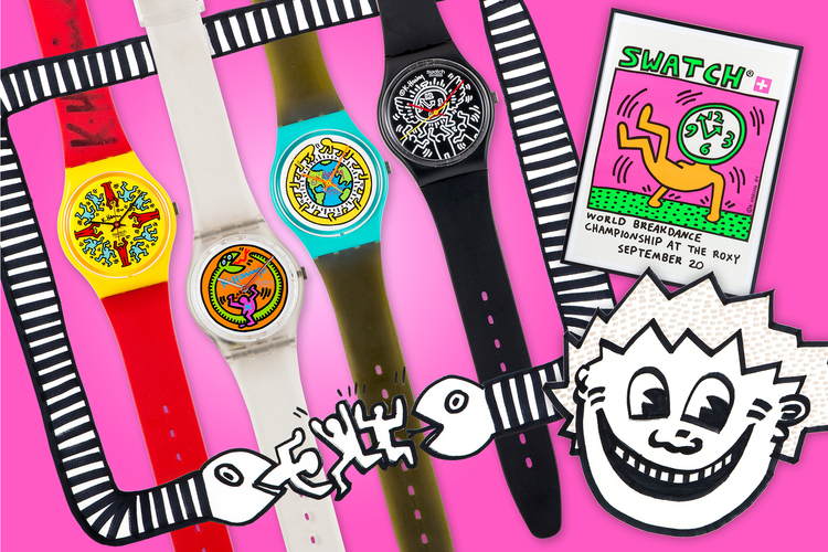 "The ""superlot"" contains over 5,800 items, including this set of Swatch wristwatches featuring artwork by the artist Keith Haring."