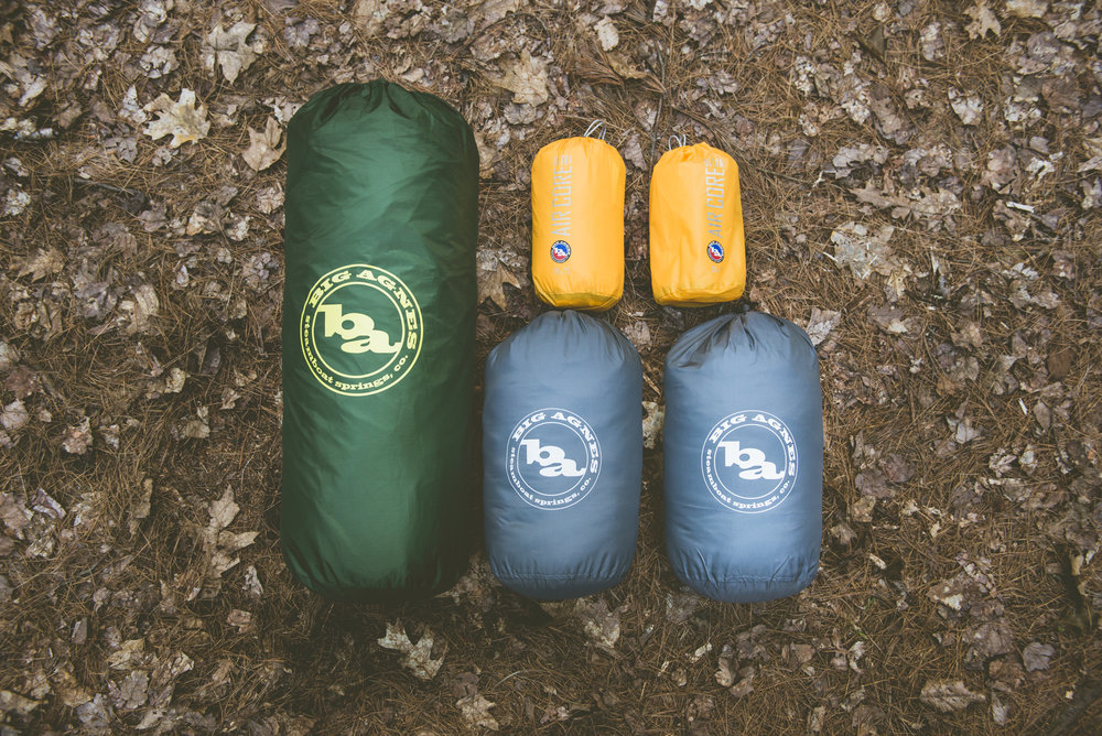 Awesome sleeping gear by Big Agnes. Green: Tent. Yellow: Sleeping pads. Gray: Sleeping bags
