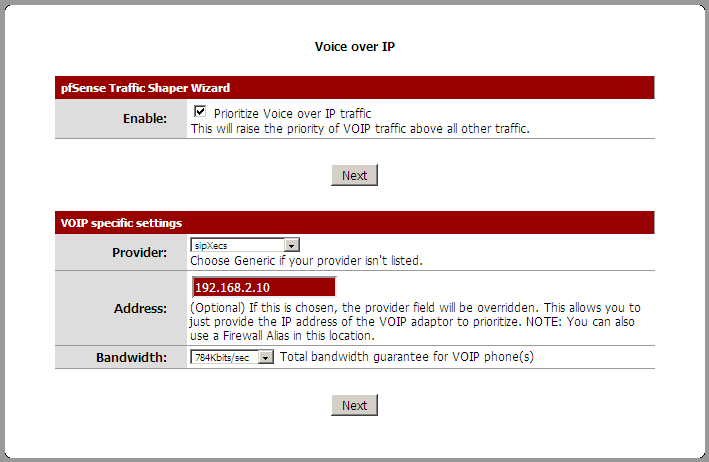 Choose to Prioritize VOIP, choose sipXecs, put in your IP and your upload usage for voip (total)
