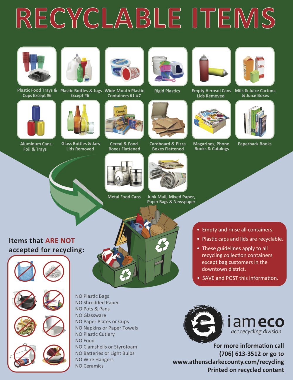 Download this list of Recyclables as a PDF.