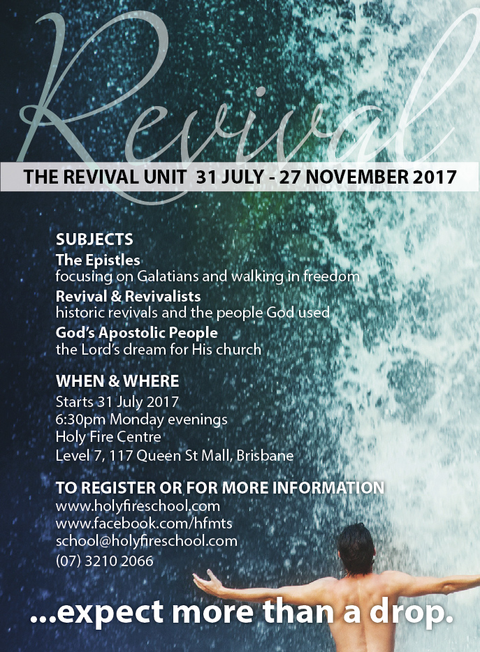 Learn about how God has used Revivals to change nations - Generation Fire has a partnership with the Holy Fire Ministry Training School which runs out of Brisbane.   Those interested in becoming an Intern can apply but would need to agree for a minimum 12 months commitment.  For a Period of 12 Months you would receive mentoring, have the opportunity to travel in a team and experience the Fire and Presence of God.