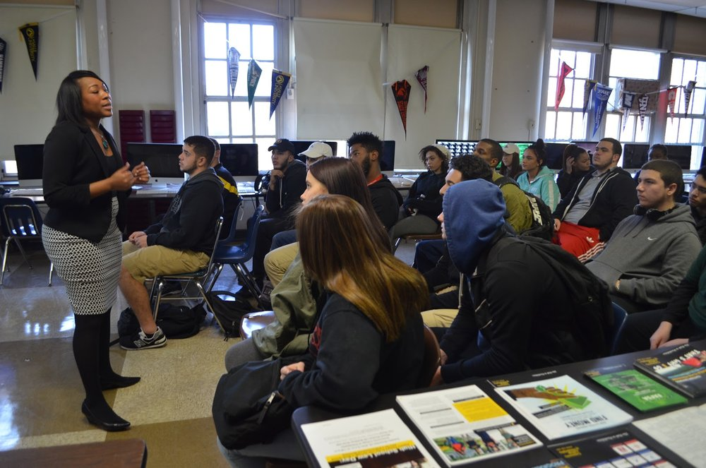 Seniors attend a CCP information session during College Week at Penn Treaty.