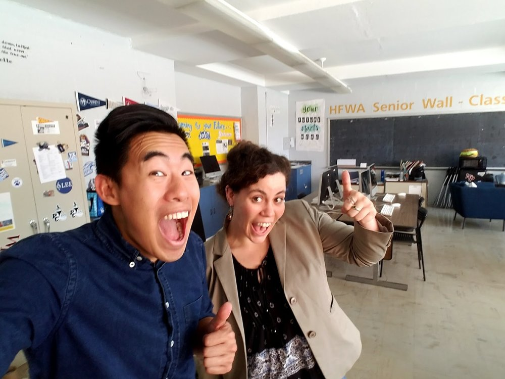 Site Director Ernest Tam and Fellow Erin Agnew on the first day in the Hill Freedman World Academy PLUS Center  -