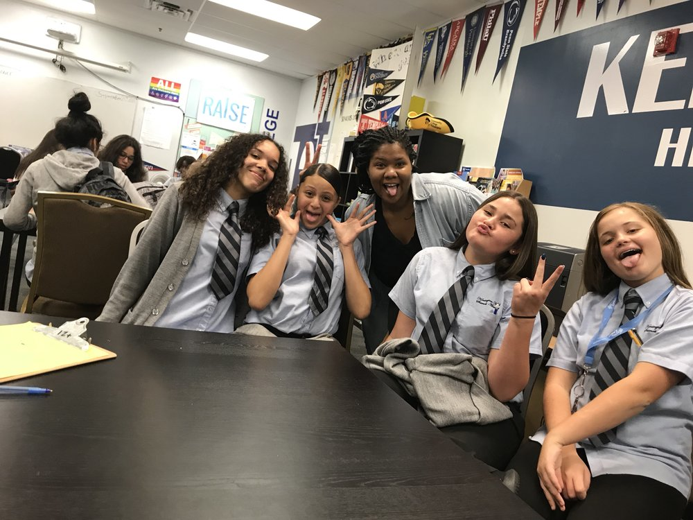 Shay shows off her silly side with a bunch of KHSA students during lunch.