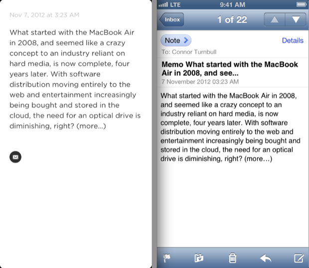 On the right, an email received as a result of sending a note through the app.