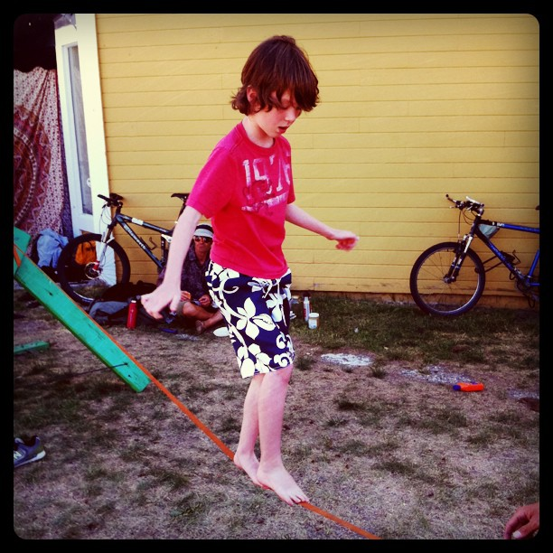 Leighton's first time on a slackline (Taken with  Instagram  at Squaw Valley Ski Resort)