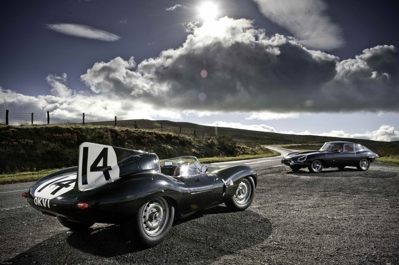 Gorgeous curves.    coolerthanbefore :      Jaguar D-Type  &  E-Type, North Wales. Photograph copyright James Lipman.