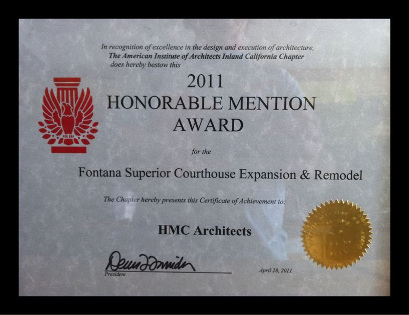 AIA Award for the Fontana Superior Courthouse Expansion and Remodel project