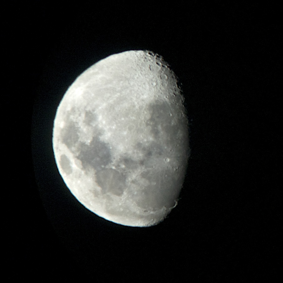 I just snapped this picture of them moon through the telescope. Get outside and see for yourself!