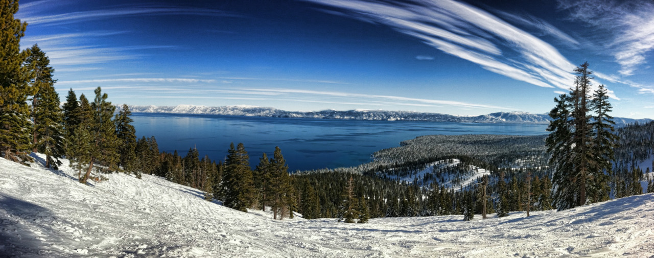 Panoramic view of Lake Tahoe from Homewood Ski Resort.