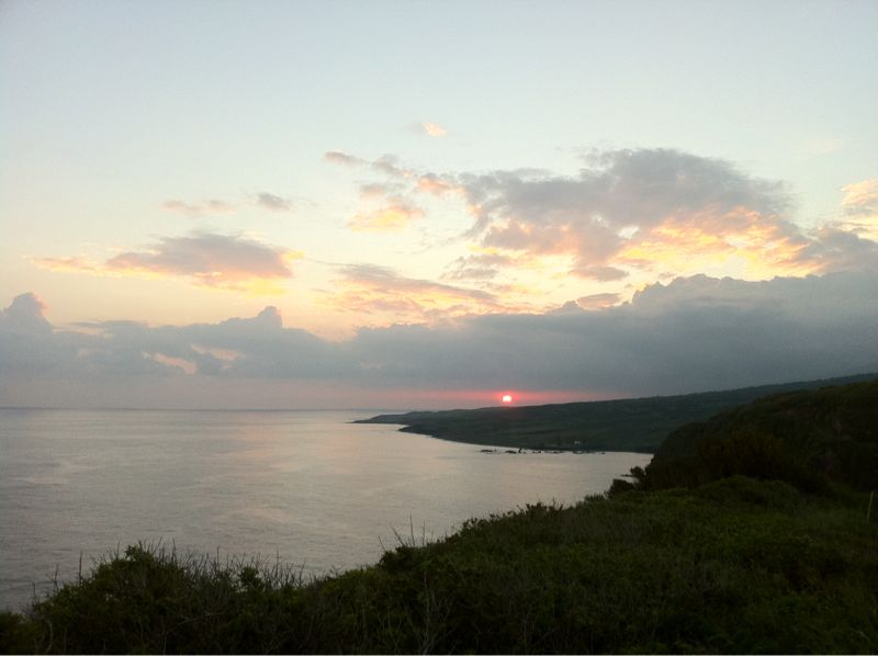 Sunset on the craziest road back from Hana.