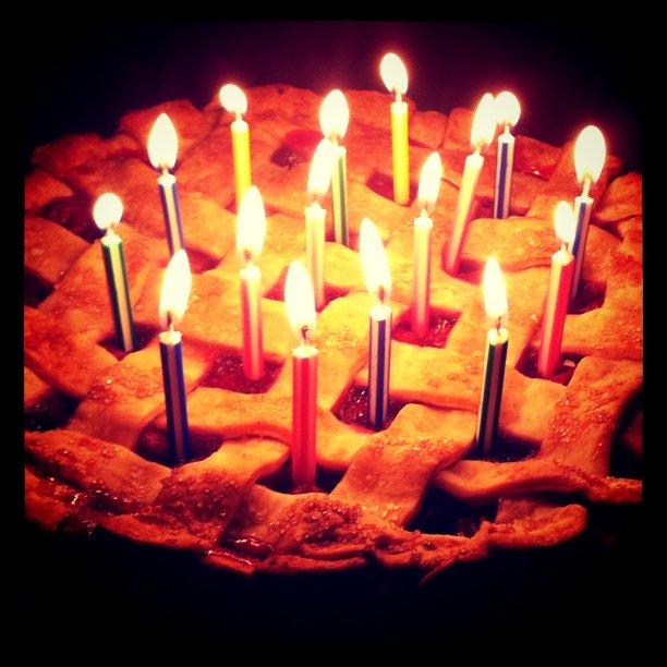 My birthday cherry pie from mom.  (Taken with  instagram )