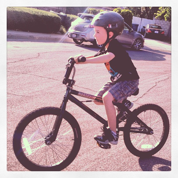Jack's birthday bike. 7 years today! (Taken with  Instagram )