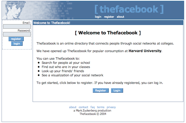 parislemon :      theatlantic :       The Internet at the Dawn of Facebook       Facebook launched in 2004. Today, it  has more users than the entire Internet had in 2004 .       That line says it all.