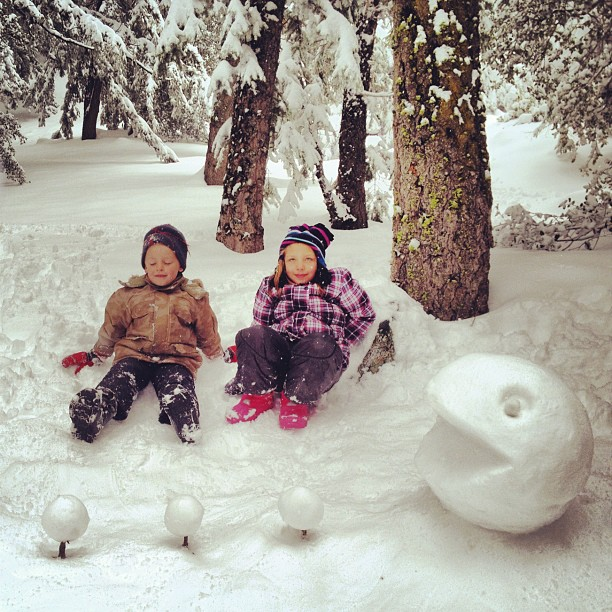 I threw in some kids for scale. #SnowPacMan (Taken with  instagram )