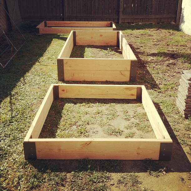 3 of the 5 raised garden beds (Taken with  instagram )