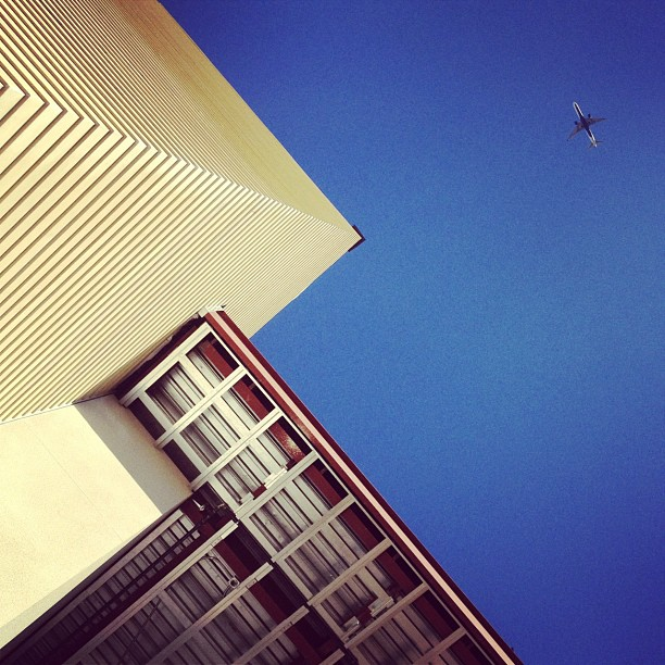 I didn't know the plane was there when I took this picture.  (Taken with  Instagram  at Elementary School #9)