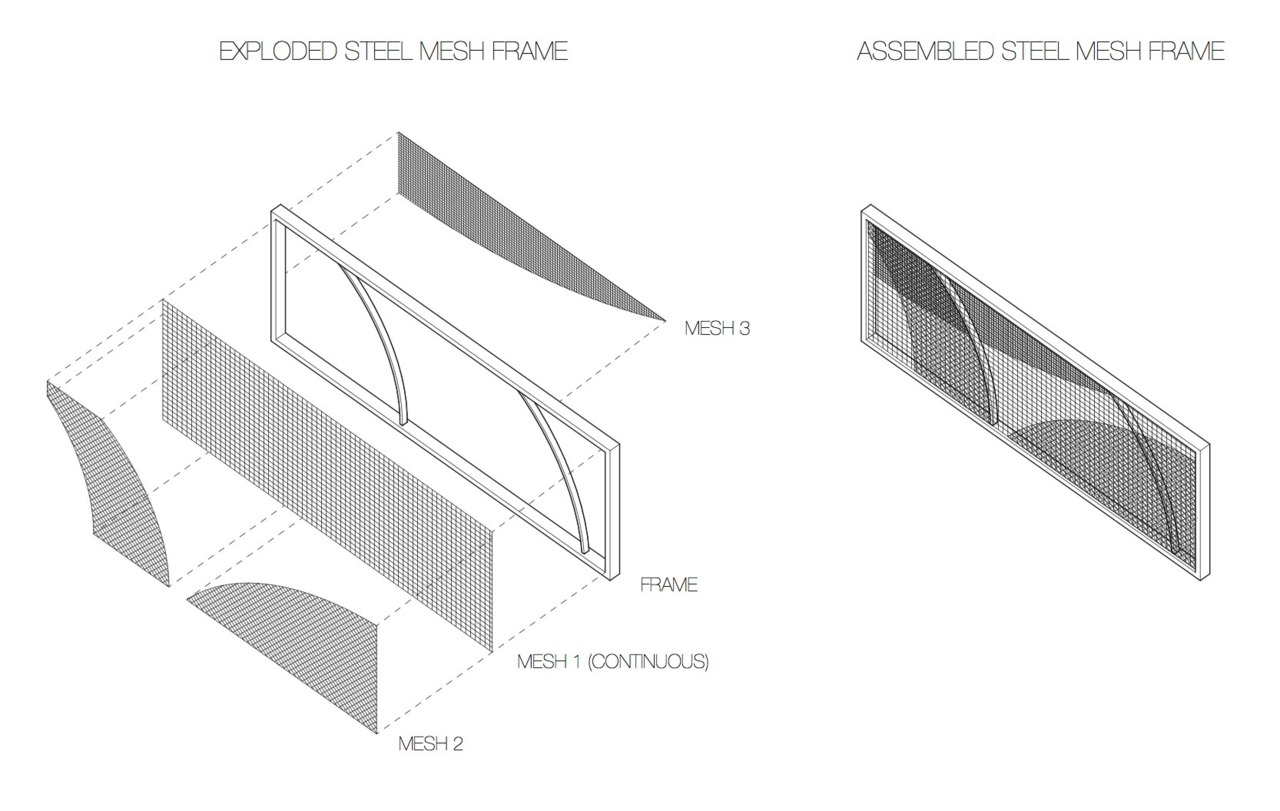 One panel of a steel mesh fence I'm designing. This shows the different layers for assembly.