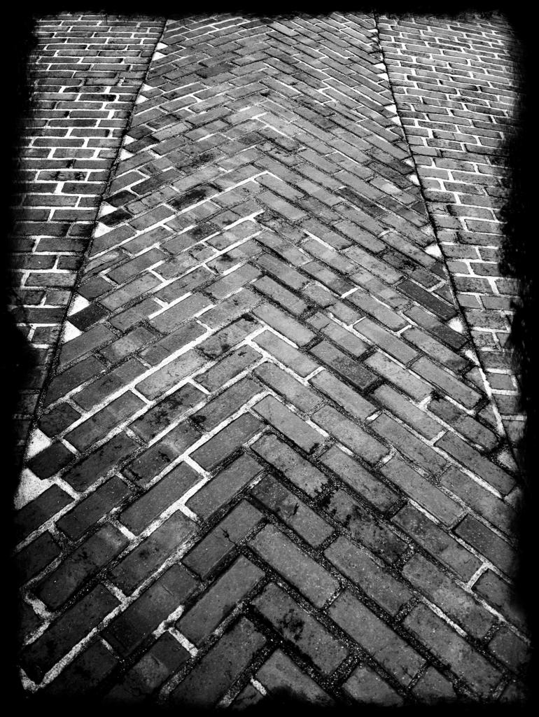 Herringbone driveway at the Gamble House.