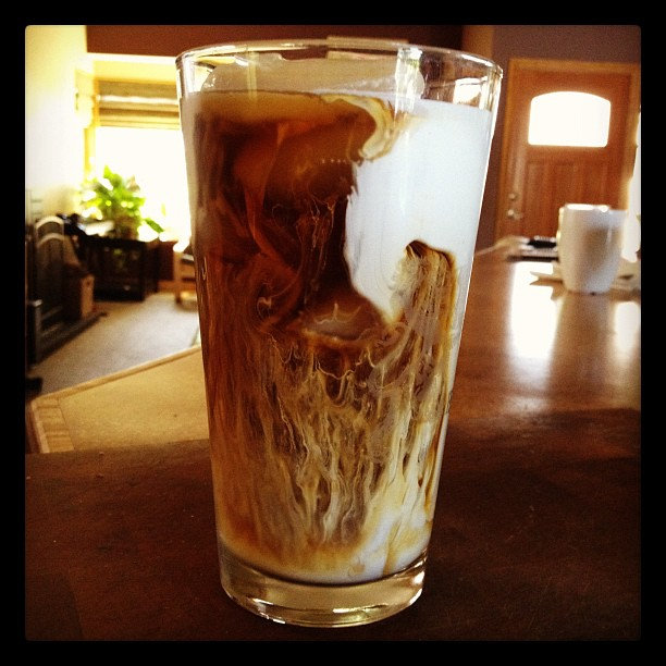 I love the look of heavy cream in iced coffee.  (Taken with  instagram )