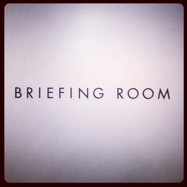 The new VG Apple Store rocks Futura for its Briefing Room signage.  (Taken with  Instagram  at Apple Store)